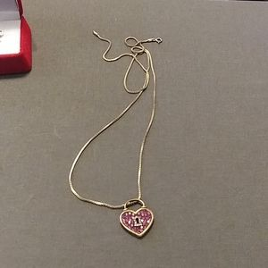 Helzberg Diamonds Ruby and Diamond SS Necklace